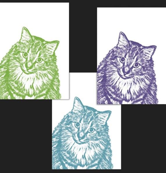 Tri-Color Custom Pet Portrait - THREE 5x7 inch Prints