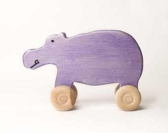 Wooden toy animal car -  Purple hippo