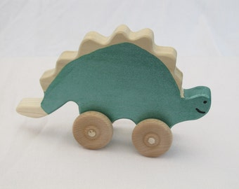 Stegosaurus Rollimal - a baby/toddler wooden toy animal