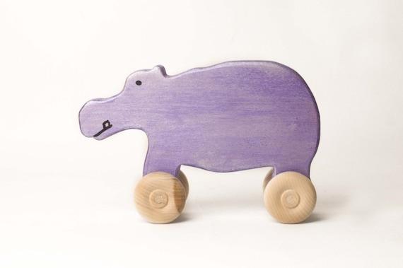 Wooden toy animal car -  Purple hippo