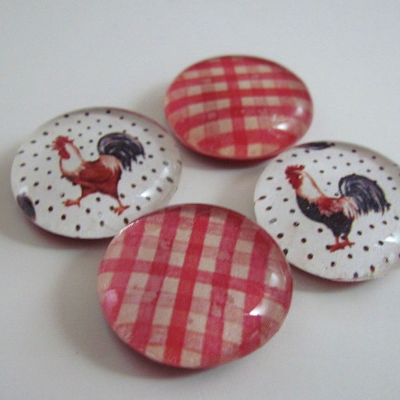 Rooster Magnets Handmade Glass Set of Four Red Country Plaid