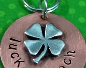 Custom Pet id tag / LUCKY POOCH - Pets info on the back