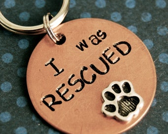 Custom Pet id tag / I WAS RESCUED  - id info on the back
