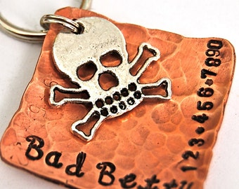 Bad Betty Skully Medium Pet ID Tag / NEW Design and Cursive Font