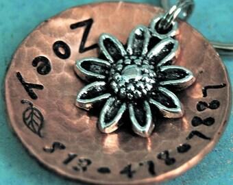 Custom Pet id tag / So Daisy copper domed