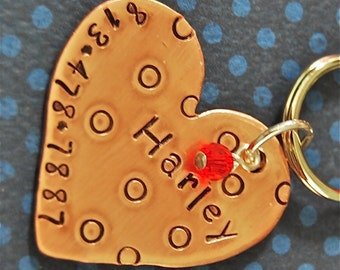 Custom Pet id tag / Personalized  Dot to Dot Heart