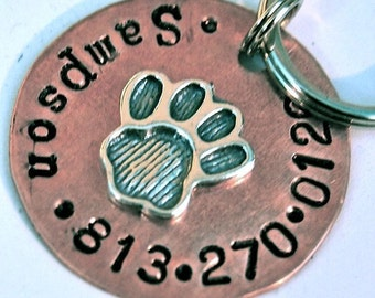 Custom Pet id tag / Perfect Paw 1inch copper and sterling