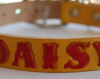 Custom Leather Dog Collar / Daisy Darling