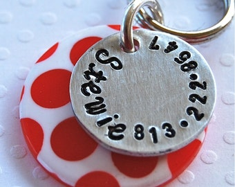 Custom Pet id tag / Polka Dot 1 inch