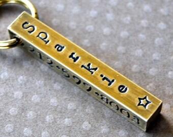 Custom pet id tag / Sturdy Brass Bar Id Tag 4 sides to customize any way you wish
