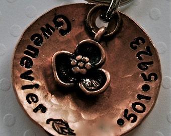 Petals copper domed / custom Pet ID Tag