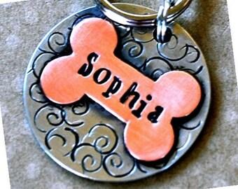 Personalized Pet tag ID / Sophia Multi Metal Bone tag