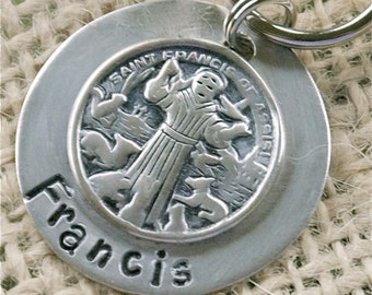 St Francis of Assisi Protection Pet ID Tag Sterling Silver