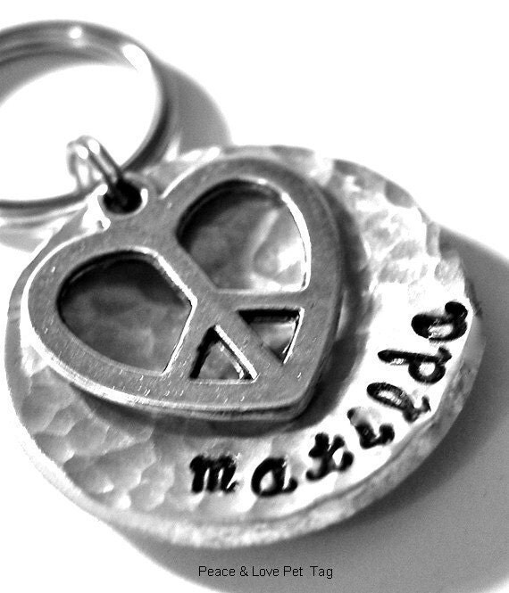 Custom Pet id tag / Peace and Love domed