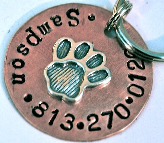 Custom Pet id tag / Perfect Paw 1inch copper and sterling dog tag