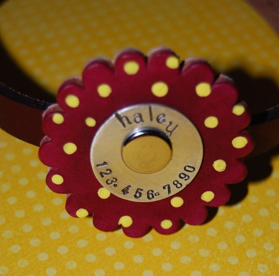 Leather Dog Collar / Darling Poppy Top / This collar has tag and collar ALL IN ONE You choose the colors