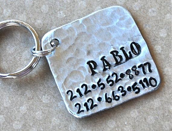 Pet id tag / Pablo Square NEW FONT Wackadoodle