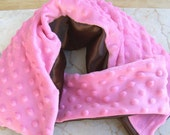Cherry Chocolate Satin and Minky - Cold\/Heat Therapy Neck Wrap Set - Organic Flax Seed