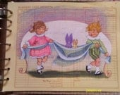 Bunnies 1920 illustration kids original art on vintage tax paper