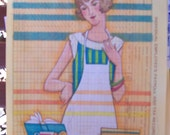 Original art on vintage tax record page 1950 housewife cooking cook book striped apron