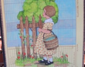 polka dot girl mid century era original art on vintage paper water barrel fence tree