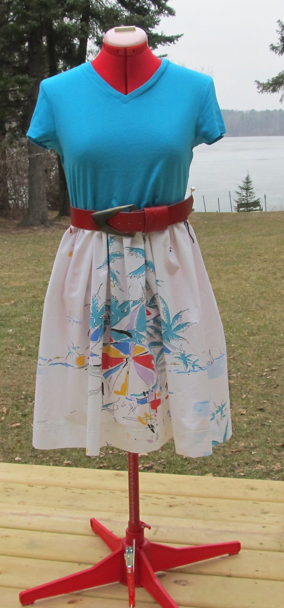 1960s tropical mad men dress with wide vintage belt reconstructed sheet resort altered upcycled