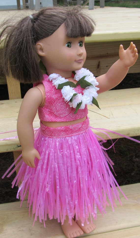 Hula grass skirt lei outfit Kanani american girl or any 18