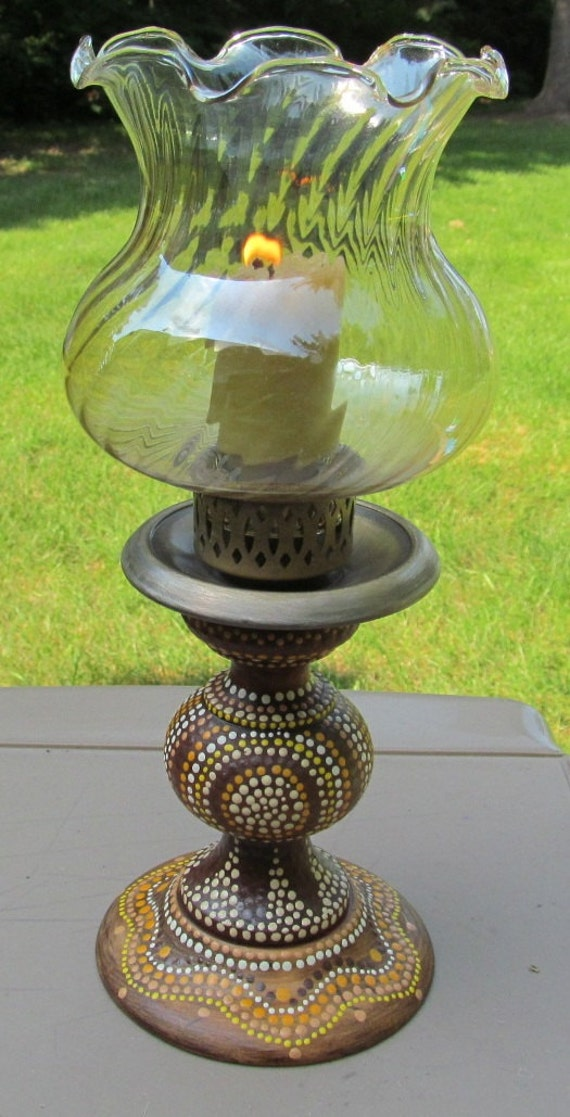 vintage wood candle holder pillar hand painted Aboriginal dots gold glass top tribal