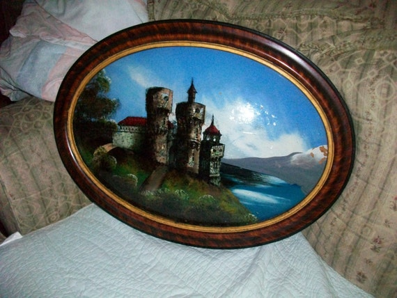 Fabulous Vintage Antique Reverse Painting On Glass
