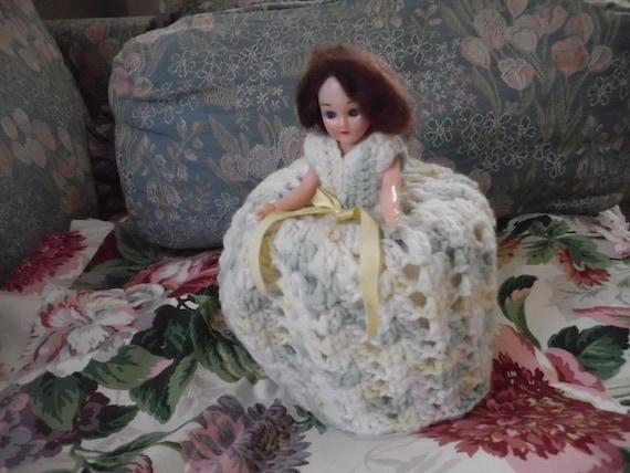 Vintage Crochet Doll Toilet Paper Cover