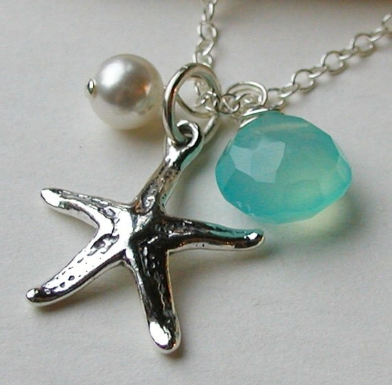 Starfish Necklace- Sterling Silver- Beach Wedding- Bride Bridesmaid- Starfish and Co. Gulf Water