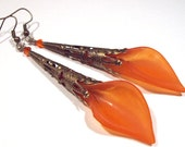 Jewelry Earrings Orange Tangerine Calla Lily Swarovski Crystal Antique Brass FREE SHIPPING