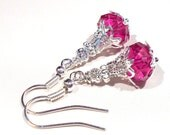 Jewelry Earrings Fuchsia Neon Pink Rose Silver Plate Dangle Puffy Rondelle FREE SHIPPING