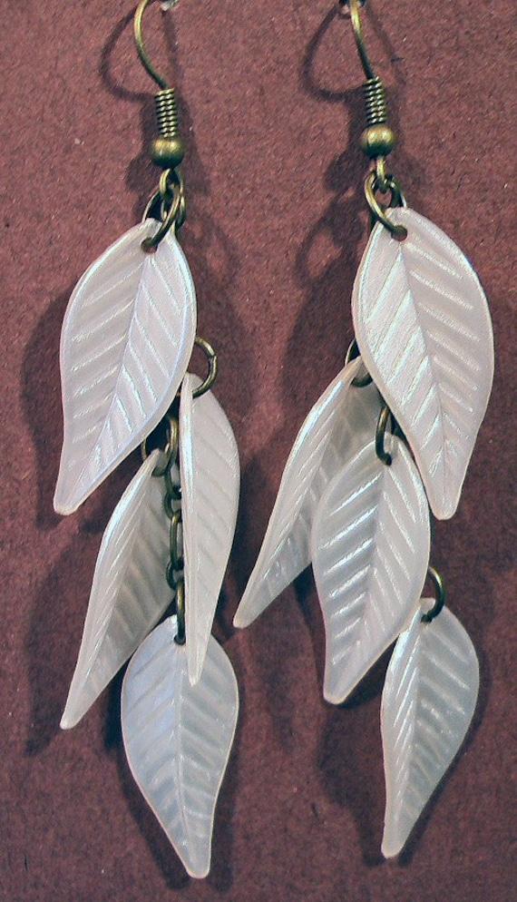 Antique Brass Pearl White Elm Leaves  Earrings