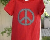 PEACE- boys red tee size 2