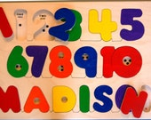 Wooden NAME and NUMBERS puzzle -  a memorable birthday gift, a fun yet educational toy. Chunky puzzle pieces. Bilingual. Eco-friendly, too!