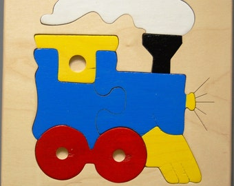 Wooden Train puzzle for toddlers, preschool children - all nontoxic materials