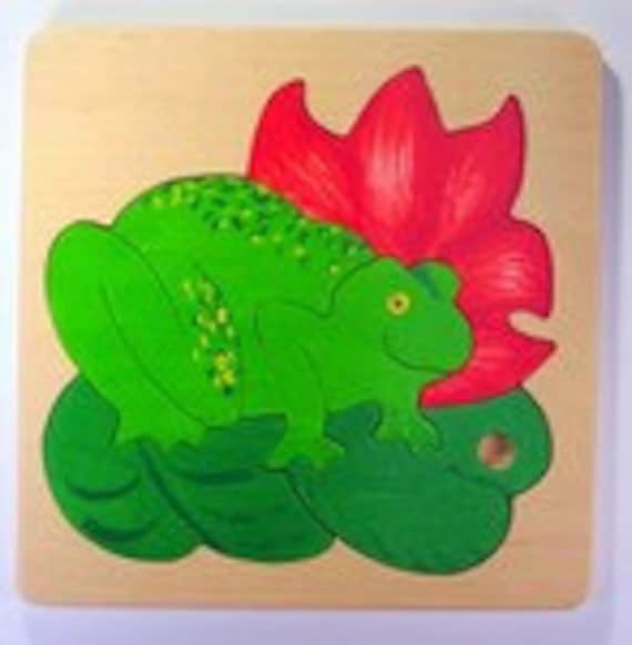 Green Frog wooden puzzle for toddlers, preschool age children - IN STOCK, ready to ship - nontoxic materials