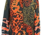 Groovy Black Orange Green White Brown Floral Polyester Knit Blouse Size M