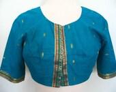Indian Sari Silk Crop Top Choli Blouse Turquoise Blue Gold Size S