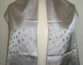 Glentex Made in France Silver Embroidered Rosebud Scarf