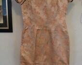 Cream Polyester Brocade Gold Floral Cheongsam Dress Size S