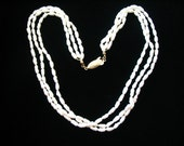 """Triple Strand Freshwater Pearl Vermeil Marquise Clasp Neckace 16"""""""