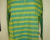 Stylish Chakra Indian Cotton Blue Yellow Stripe Tunic Top Size 48 or L