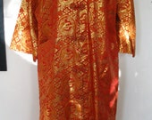 Red & Gold Brocade Dragon Medallion Robe Jacket Size M to L