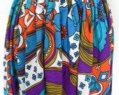 Groovy Mod 70s Flower Print Polyester Maxi Skirt Size M
