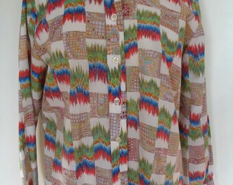 Sutter Place Polyester Radio Waves Print Shirt Size L