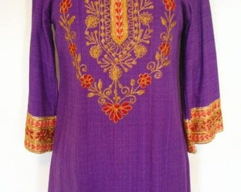 Horizons Unlimited Key West Purple Cotton Embroidered Tunic Size S