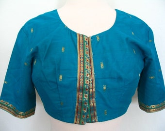 Indian Sari Silk Crop Top Choli Blouse Turquoise Blue Gold Size S