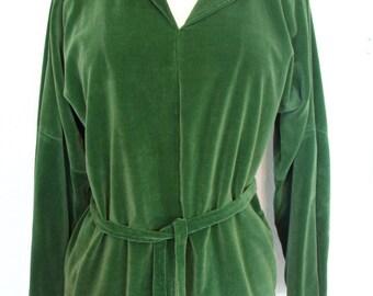 Green Plush Velvet Ruffle Neck Belted Tunic Top Size L